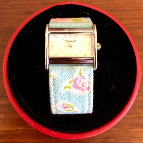 Talbots Rectangle Face Floral Strap Watch.